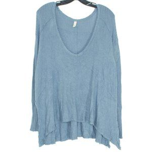Free People Top Long Sleeve High Low Blue Small EU